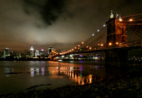 Cincinnati at Night - The Roebling Suspension Bridge